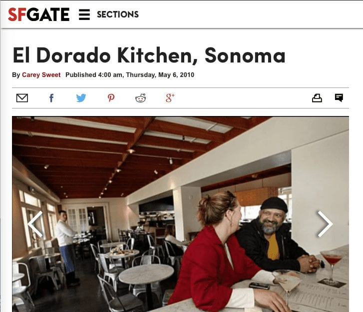 SFGATE article headline. Text: El Dorado Kitchen, Sonoma.