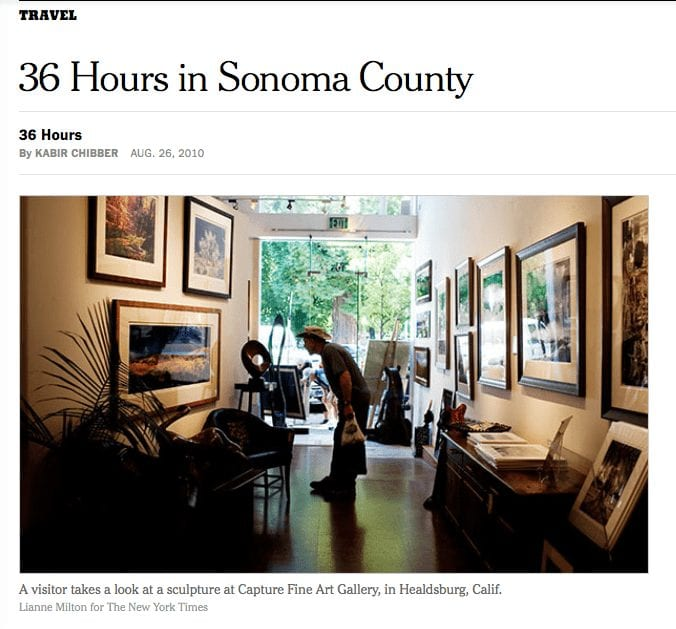 New York Times article headline. Text: 36 Hours in Sonoma County.