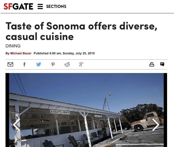 SFGate article headline. Text: Taste of Sonoma offers diverse, casual cuisine.