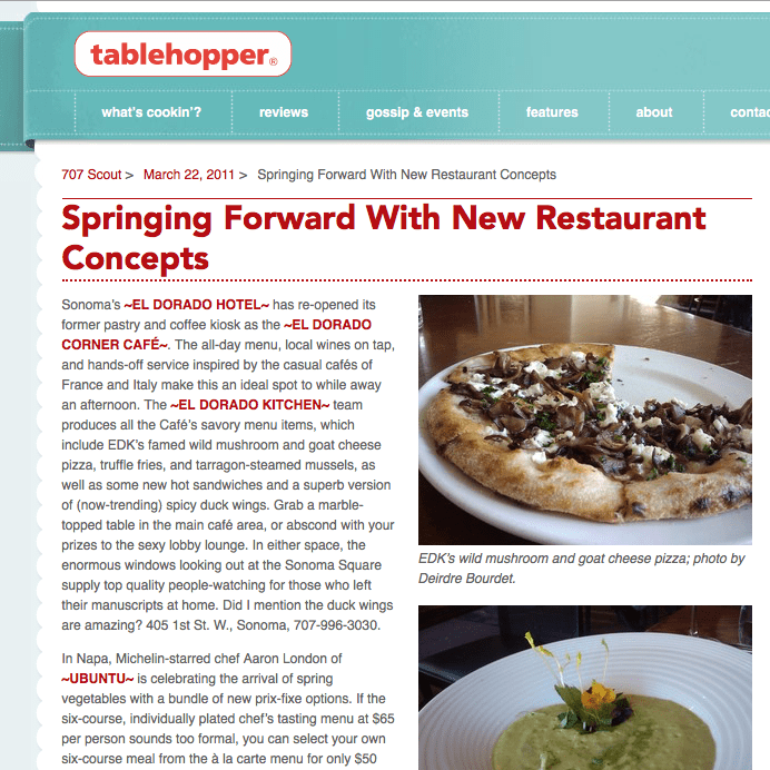 Tablehopper article. Headline Text: Springing Forward with New Restaurant Concepts.