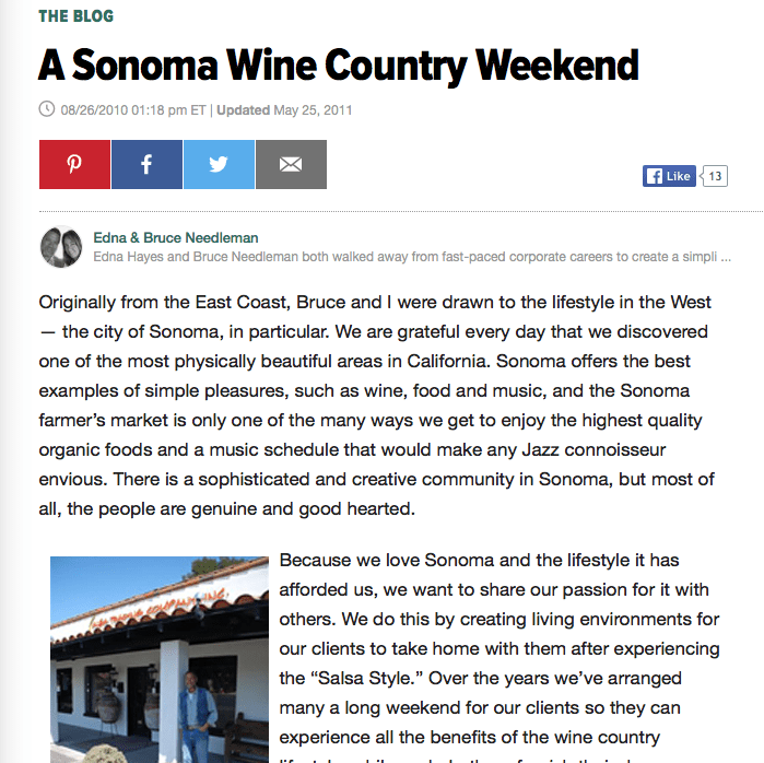 Huffington Post article. Headline text: A Sonoma Wine Country Weekend.