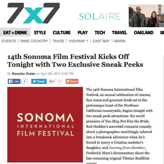 7x7 article. Headline text: 14th Sonoma Film Festival Kicks Off Tonight with Two Exclusive Sneak Peeks