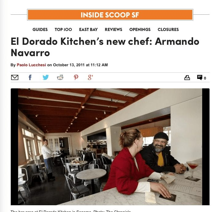 SFGate article headline. Text: El Dorado Kitchen's New Chef: Armando Navarro.