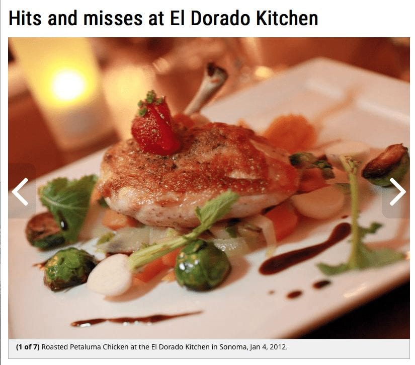 The Press Democrat article headline. Text: Hits and misses at El Dorado Kitchen.