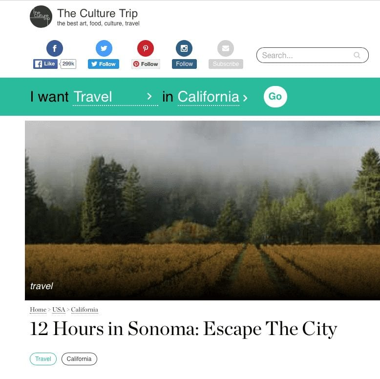 The Culture Trip article headline. Text: 12 Hours in Sonoma: Escape the City.