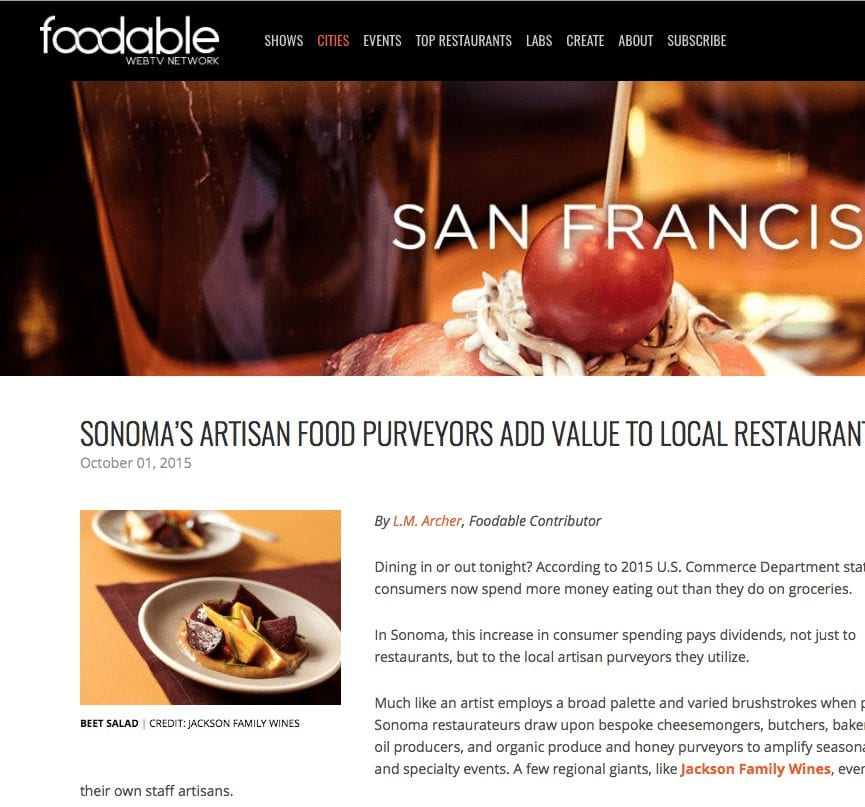 Foodable WebTV article. Headline text: Sonoma's Artisan Food Purveyors Add Value to Local Restaurants.