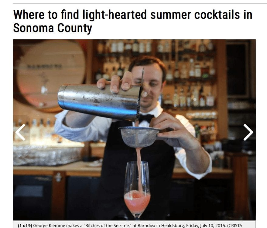 The Press Democrat article headline. Text: Where to find light-hearted summer cocktails in Sonoma County.