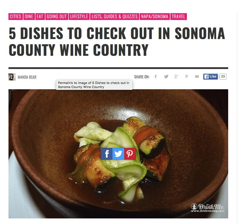 Drink Me article headline. Text: 5 Dishes to Check Out in Sonoma Wine Country