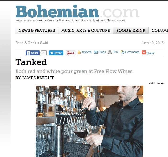 Bohemian article. Text: Tanked, Both red and white pour green at Free Flow Wines.