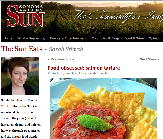 Sonoma Valley Sun article. Text: Food Obsessed: Salmon tartare.