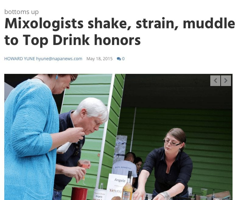 Bottoms Up Article. Text: Mixologists shake, strain, muddle to Top Drink honors.