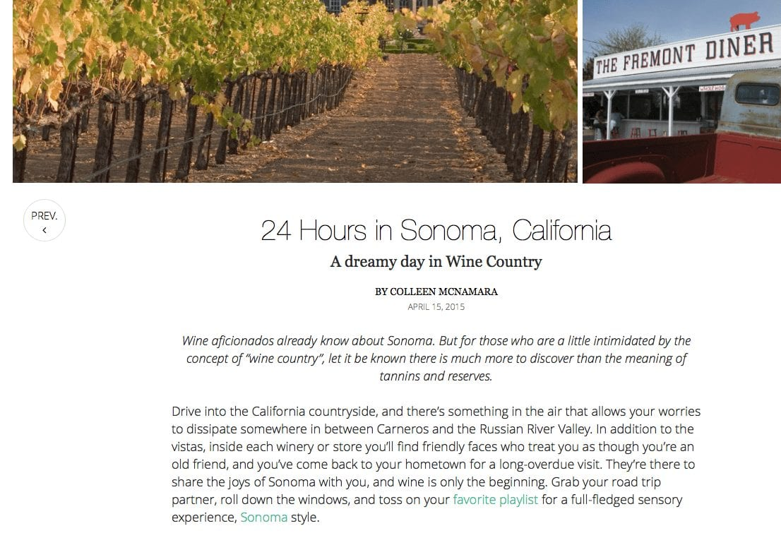 Luxury Retreats article. Text: 24 Hours in Sonoma, California.