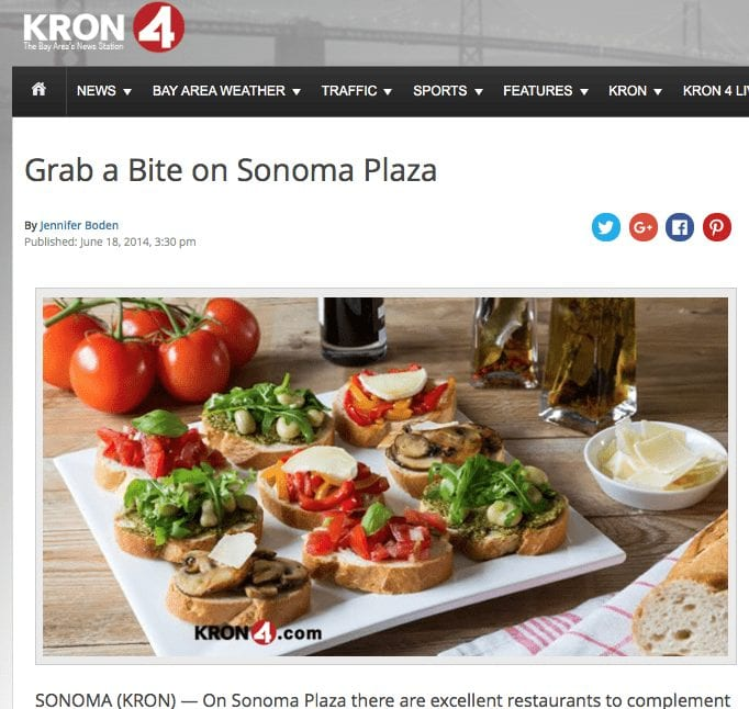 KRON 4 News article. Text: Grab a Bite on Sonoma Plaza.