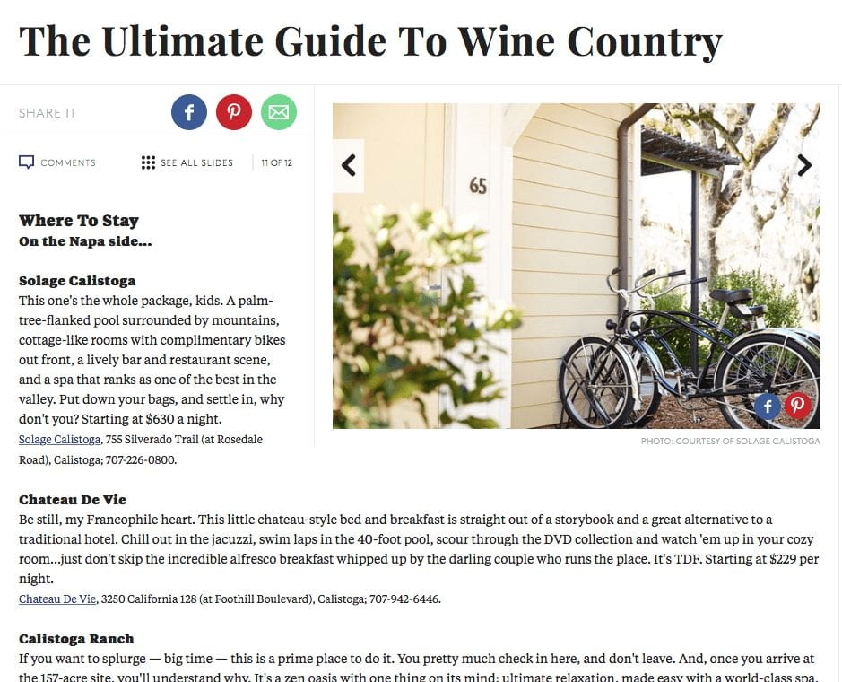 Refinery29 article. Text: The Ultimate Guide to Wine Country.