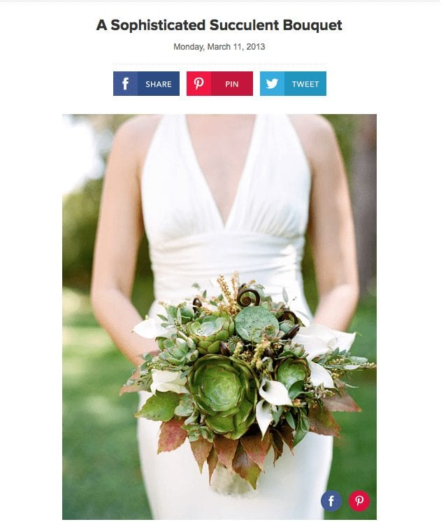 Brides Magazine. Text: A Sophisticated Succulent Bouquet.