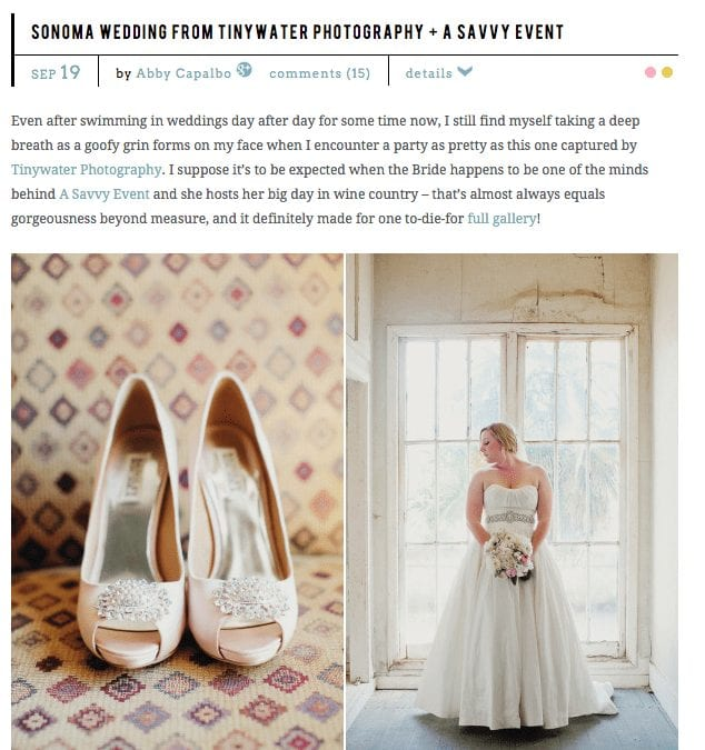 Style Me Pretty article headline. Text: Sonoma Wedding from Tinywayer Photography.