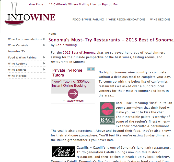 Into Wine website article. Text: Sonoma's Must Try Restaurants - 2015 Best of Sonoma.