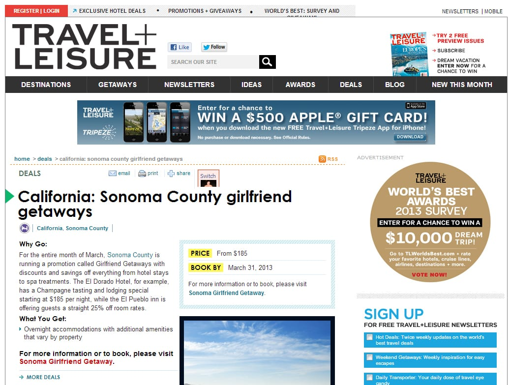 Travel + Leisure article. Text; California: Sonoma County Girlfriend Getaways
