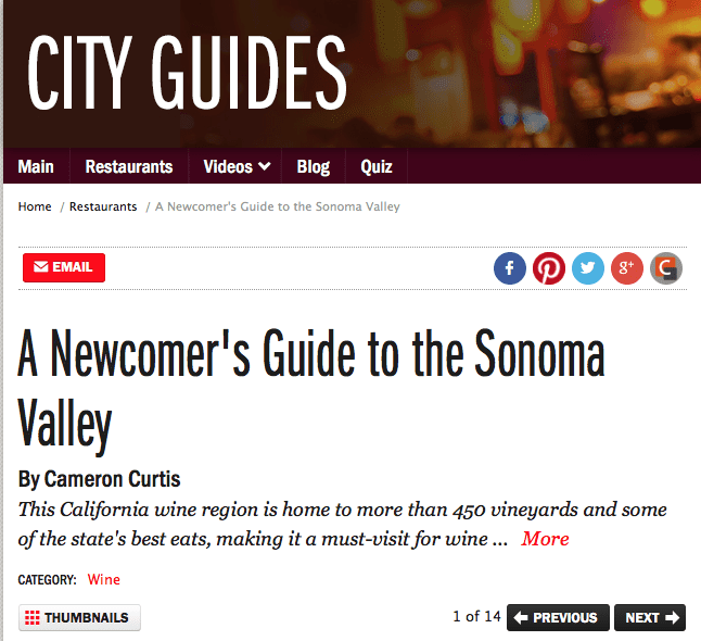 Food Network City Guides article. Text: A Newcomer's Guide to the Sonoma Valley