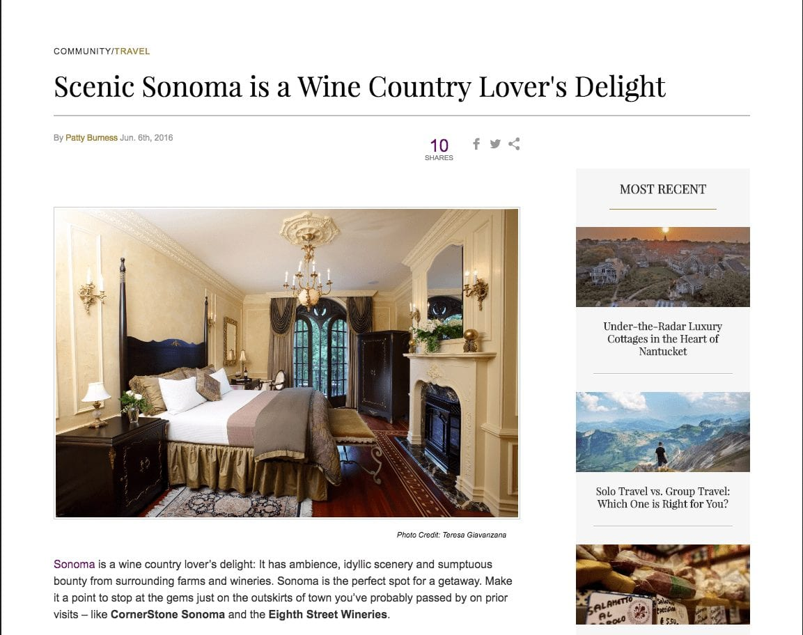 Just Luxe article headline. Text: Scenic Sonoma is a Wine Country Lover's Delight.