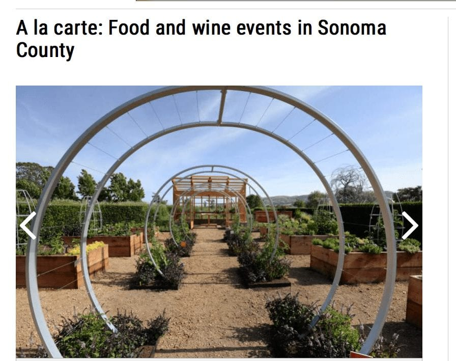 The Press Democrat article headline. Text: A la carte: Food and wine events in Sonoma County.