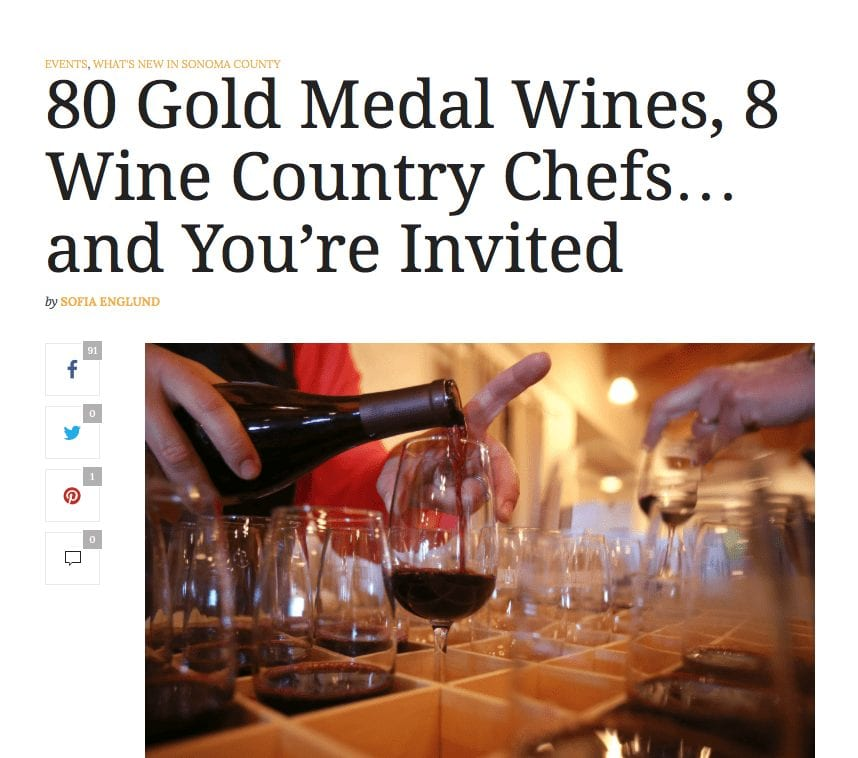 Sonoma Magazine article headline. Text: 80 Gold Medal Wines, 8 Wine Country Chefs... and You're Invited