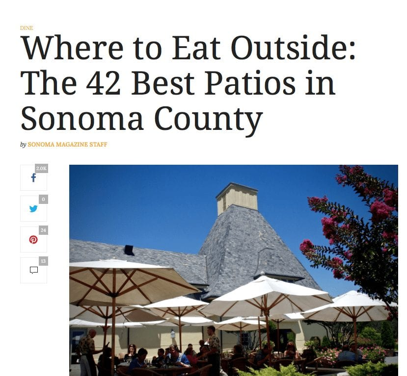 Sonoma Magazine article headline. Text: Where to Eat Outside: The 42 Best Patios in Sonoma County.