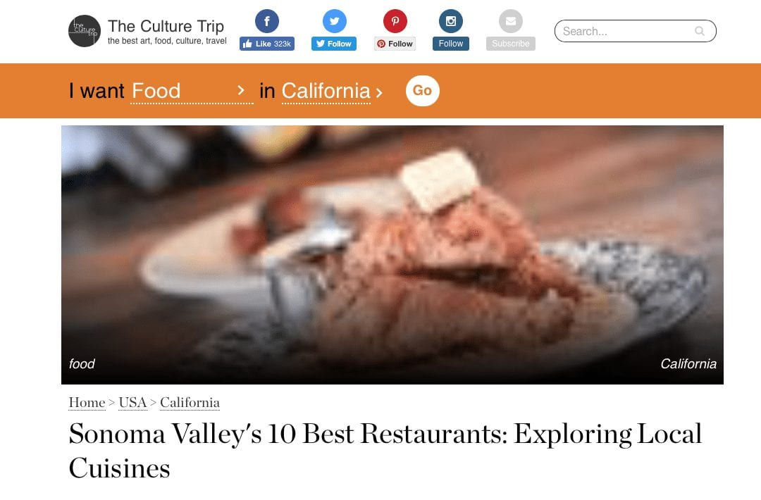 The Culture Trip. Text: Sonoma Valley's 10 Best Restaurants: Exploring Local Cuisines.
