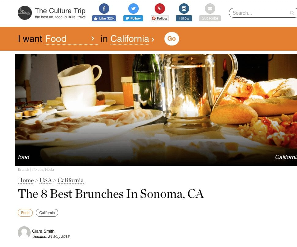 The Culture Trip article. Text: The 8 Best Brunches in Sonoma, CA.