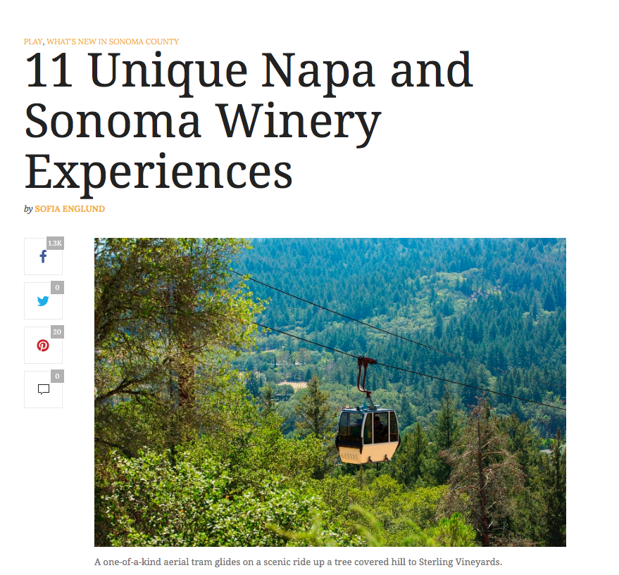 Sonoma Magazine article. Text: 11 Unique Napa and Sonoma Winery Experiences.