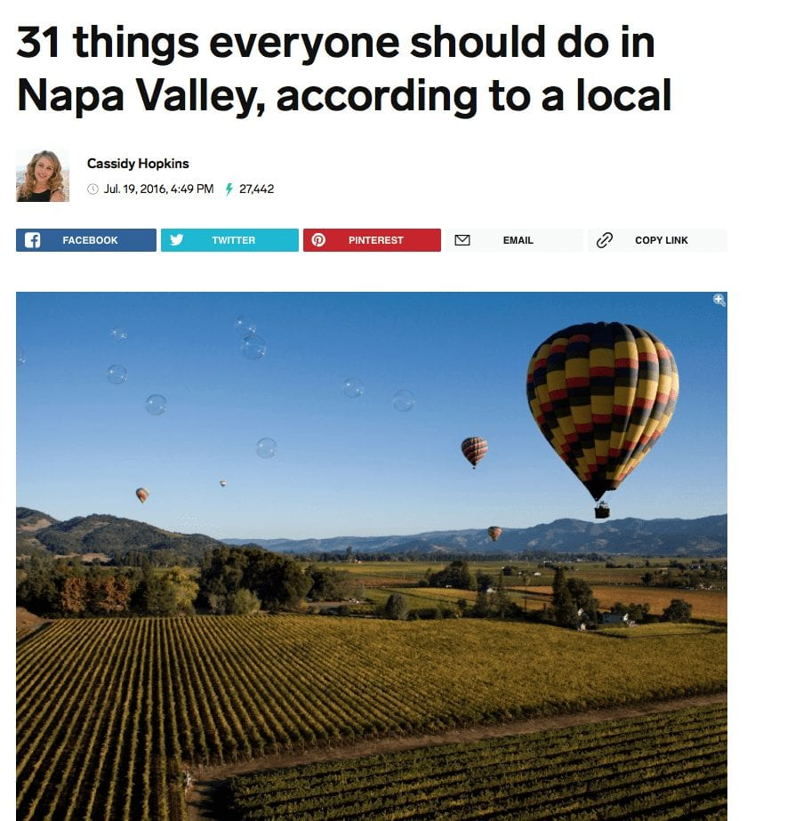 Insider article headline. Text: 31 things everyone should do in Napa Valley, according to a local.