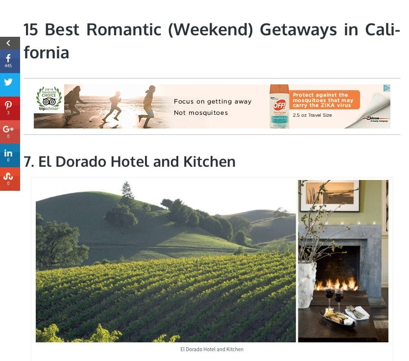 The Crazy Tourist article. Text: 15 Best Romantic (Weekend) Getaways in California -7. El Dorado Hotel and Kitchen