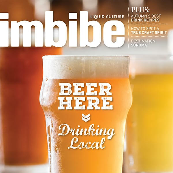 Imbibe magazine cover. Text: Beer Here, Drinking Local.