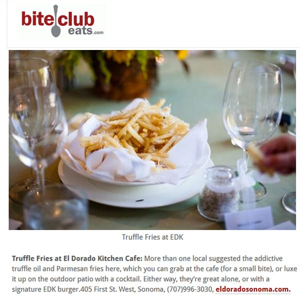 biteclub eats article. Text: Truffle Fries at EDK.