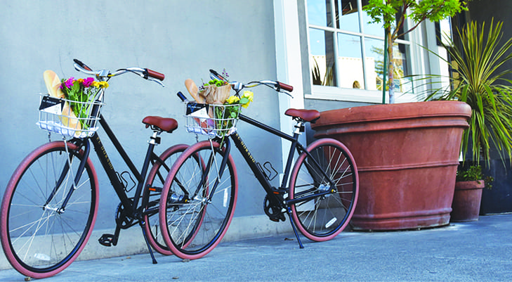 Bicycles with groceries in baskets.