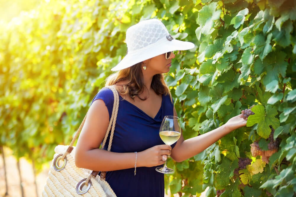 Photo of a Woman Walking through a Sonoma Valley Vineyard.